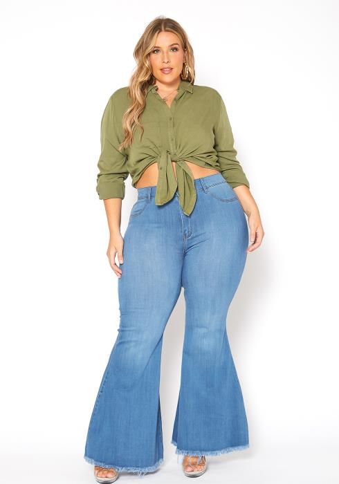 Vibrant Plus Size Classic Wash High Waist Bell Bottom Jeans
