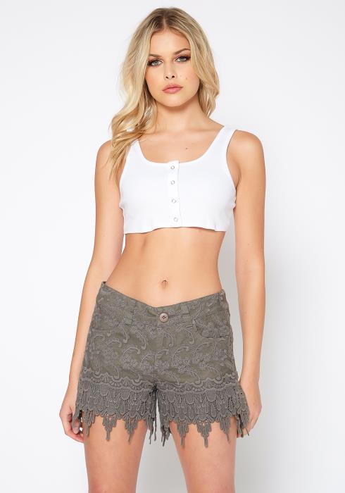 Monoreno Bohemian Crochet Design Mini Shorts