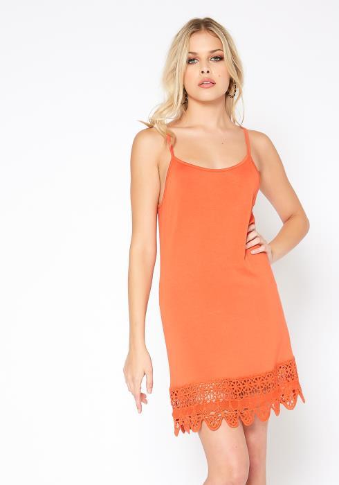 Monoreno Upleveled Basic Crochet Trim Cami Mini Dress