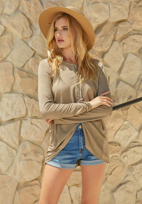 Monoreno Button Front Long Sleeve Casual Top