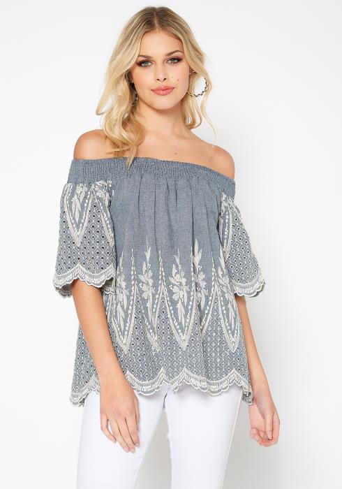 Monoreno Denim Blue Off Shoulder Embroidered Top