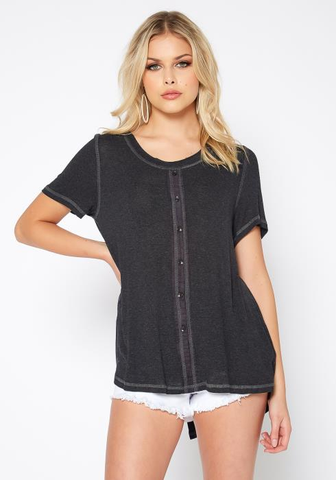 Monoreno Short Sleeve Button Front Everyday Top