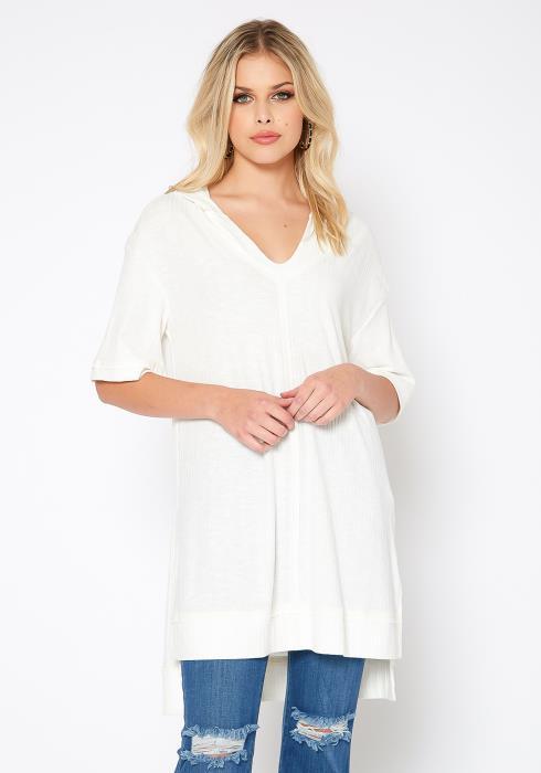 Monoreno Ribbed Knit High Low Hooded Sweatshirt
