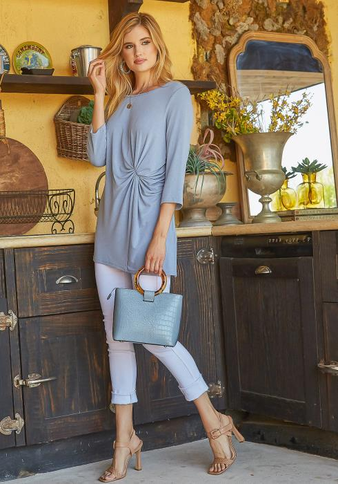 Monoreno Twist Front Ascent Long Sweater Top