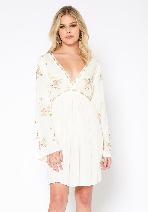Monoreno Floral Art Pattern Fit & Flare Mini Dress