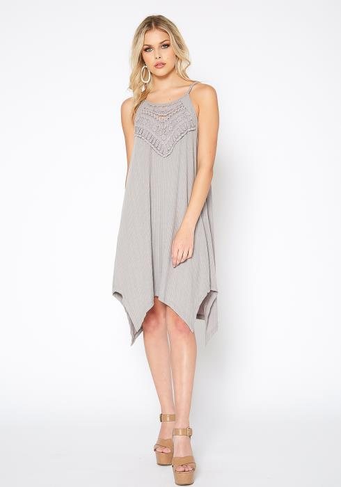 Monoreno Crochet Contrast Asymmetric Flare Mini Dress