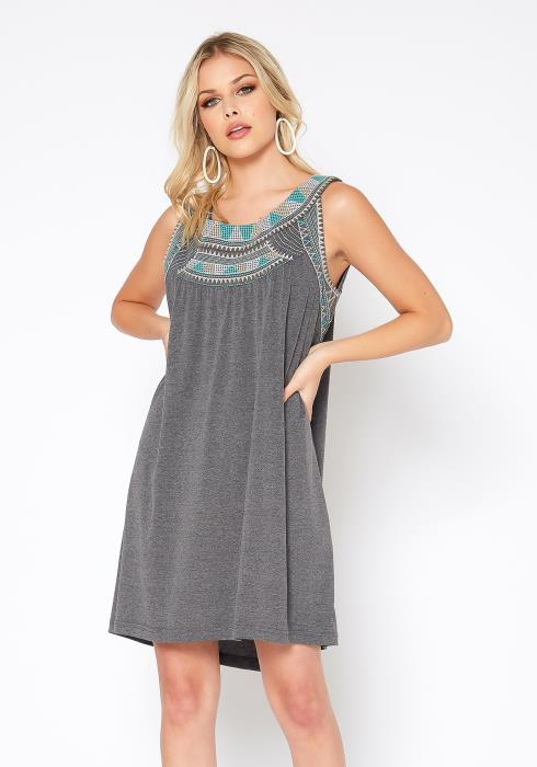 Monoreno Aztec Print Flare Tank Mini Dress