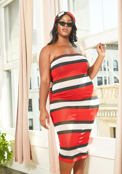 Asoph Plus Size Red Striped Tube Bodycon Mesh Midi Dress