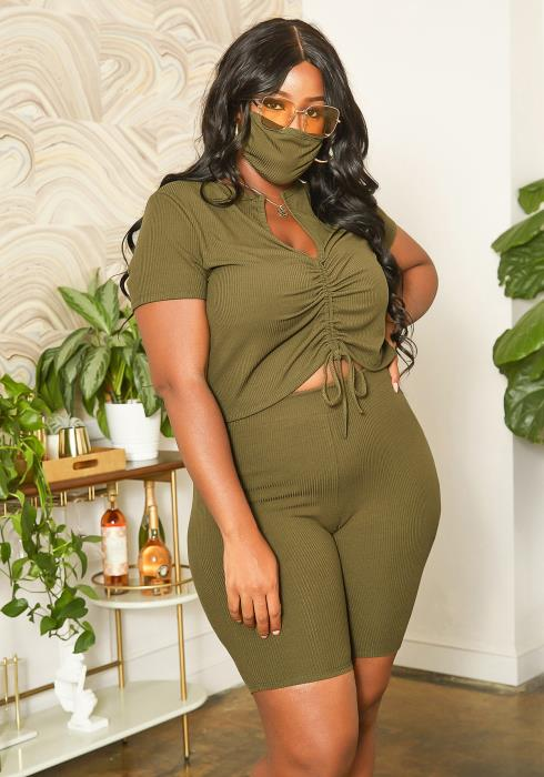 Asoph Plus Size Ripped Knit Set With Mask