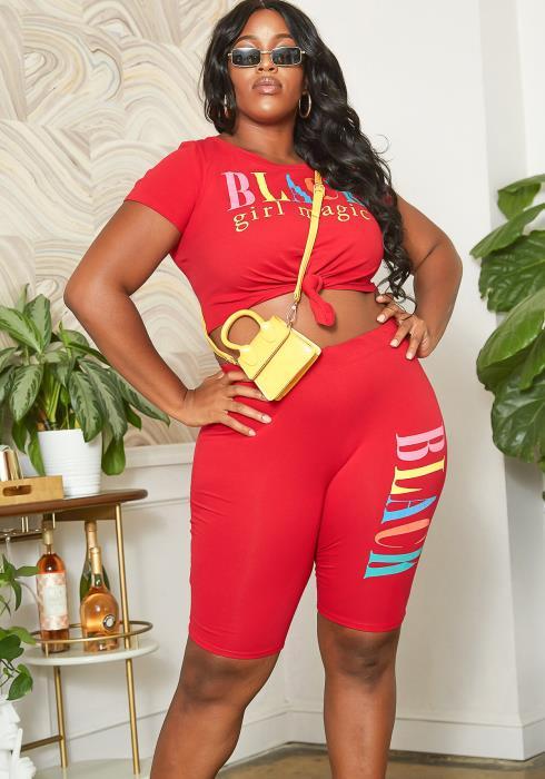 Asoph Plus Size Black Girl Magic Statement Two Piece Set