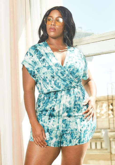 Asoph Plus Size Blue Wave Tie Dye Romper