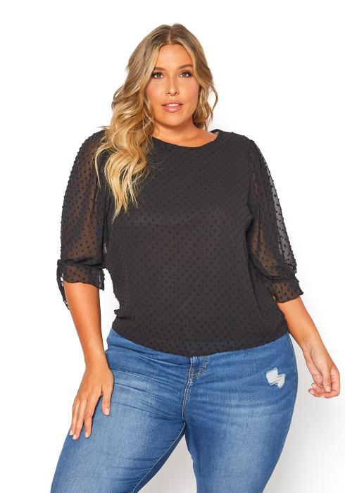 Asoph Plus Size Dotted Lace Blouse Top