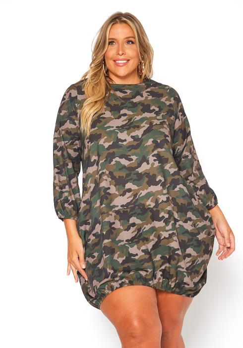 Asoph Plus Size Camo Printed Mini Dress