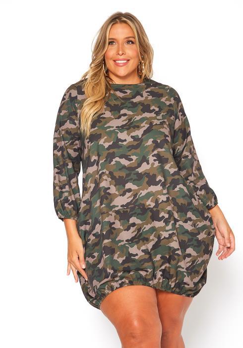 Asoph Plus Size Camo Printed Mini Dress