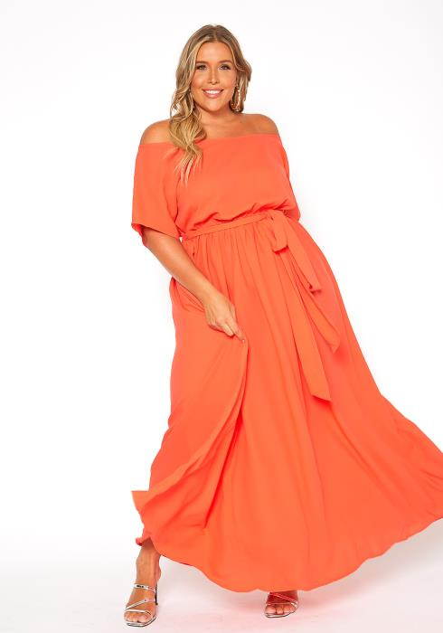 Asoph Plus Size Off Shoulder Maxi Tie Waist Dress