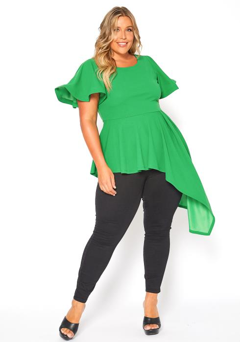 Asoph Plus Size High Low Hem Peplum Blouse Top