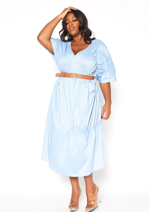 Asoph Plus Size V-Neck Ruched Oversized Midi Dress