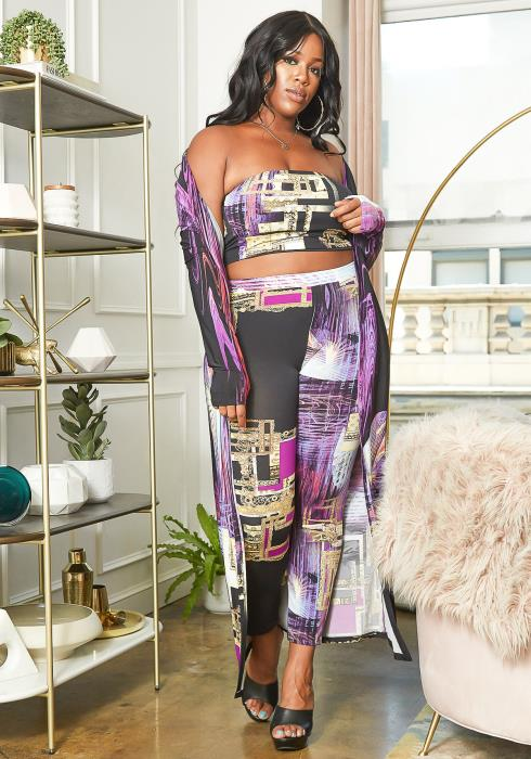 Asoph Plus Size Abstract Purple Three Piece Set