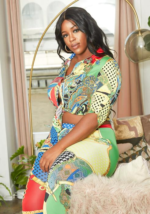 Asoph Plus Size Multi Print Block Set