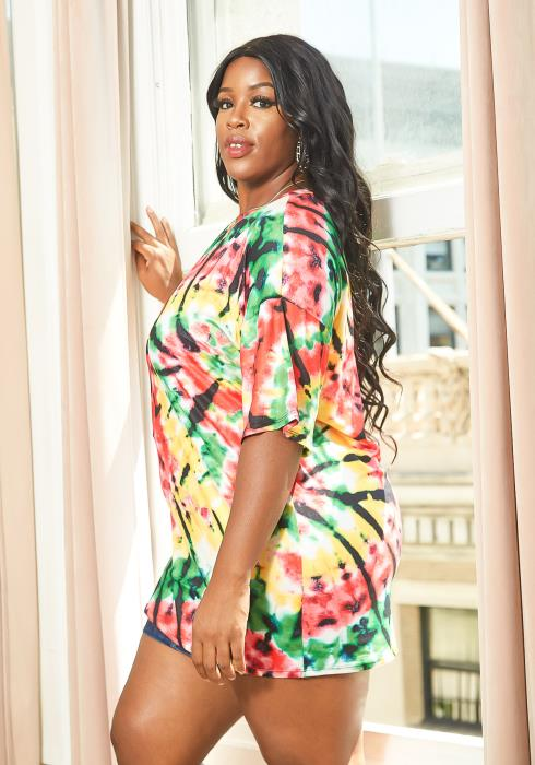 Asoph Plus Size Strawberry and Lime Tie Dye Top