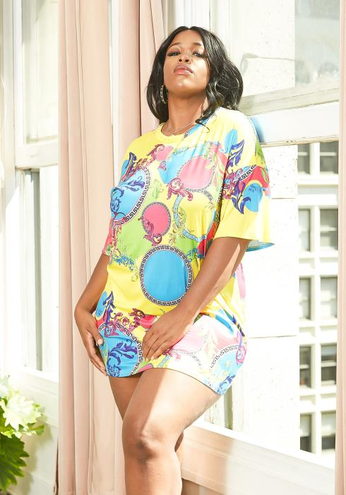 Asoph Plus Size Multi Print Statement Tee Shirt Mini Dress