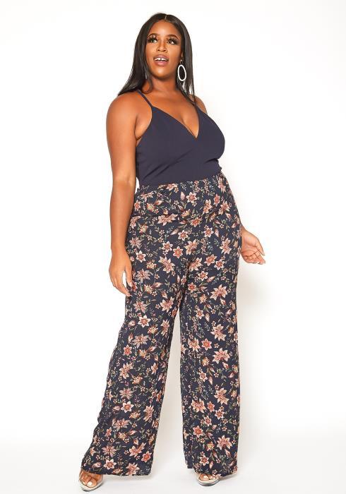 Asoph Plus Size Navy Floral Cami Jumpsuit