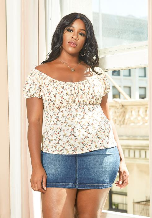 Asoph Plus Size Floral Empire Blouse Top