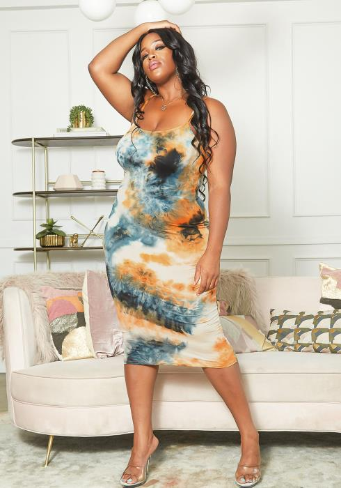 Asoph Plus Size Tie Dye Midi Bodycon Cami Dress