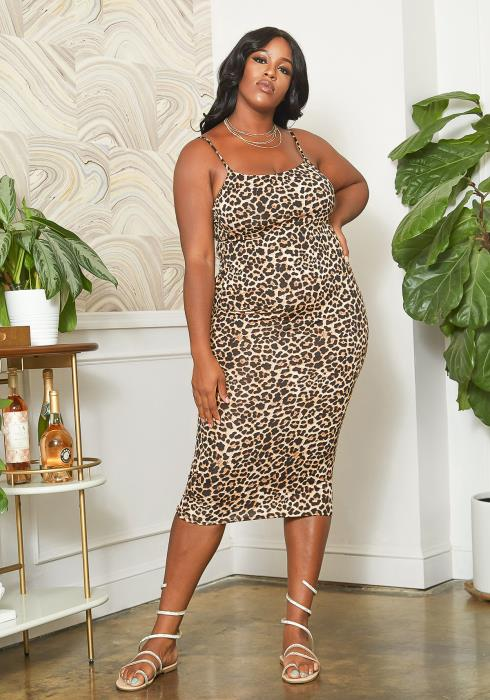 Asoph Plus Size Wild Leopard Cami Bodycon Midi Dress