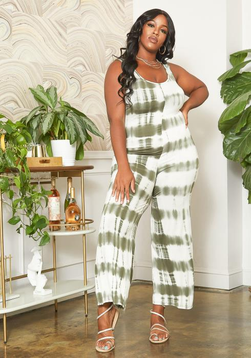 Asoph Plus Size Olive Tie Dye Sleeveless Jumpsuit
