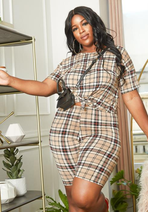 Asoph Plus Size Plaid Crew Neck Top & Biker Shorts Set