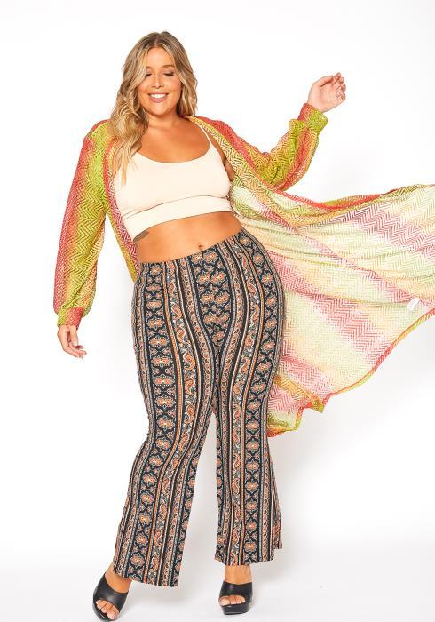 Asoph Plus Size Multi Colored Crochet Longline Cardigan