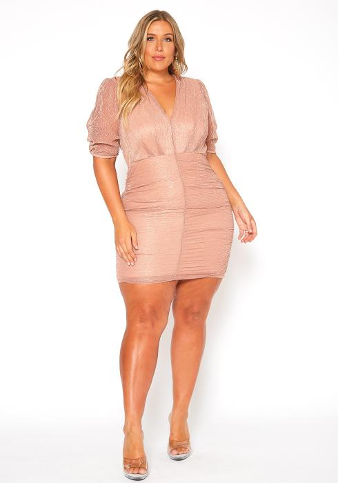 Asoph Plus Size Shiny Lurex Rose Gold Cocktail Dress
