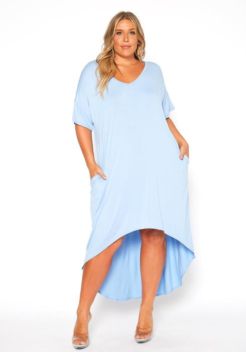 Asoph Plus Size High Low Comfy Night Gown Dress
