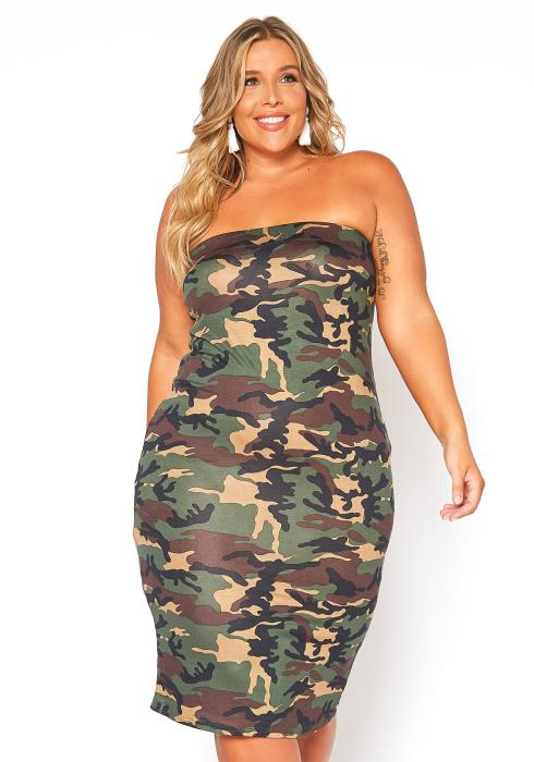 Asoph Plus Size Camo Tube Top Bodycon Dress