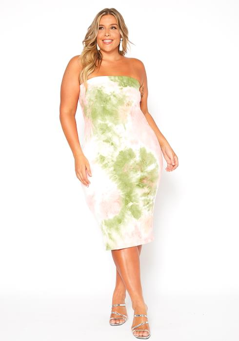 Asoph Plus Size Water Tie Dye Tube Top Bodycon Dress