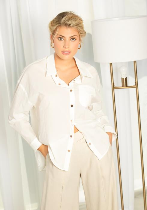 NDS High-Low Hem Cotton Button Up Shirt