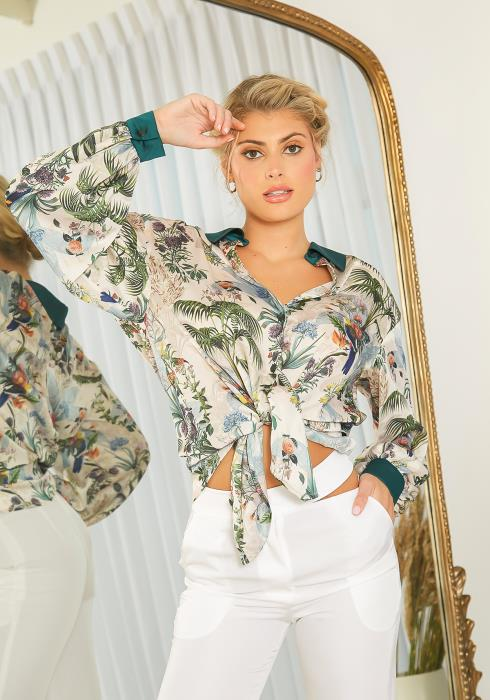 NDS Tropical Floral Print Collared Shirt