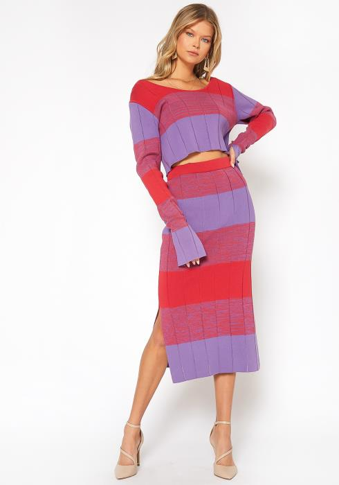 NDS Wide Stripe Knit Midi Skirt