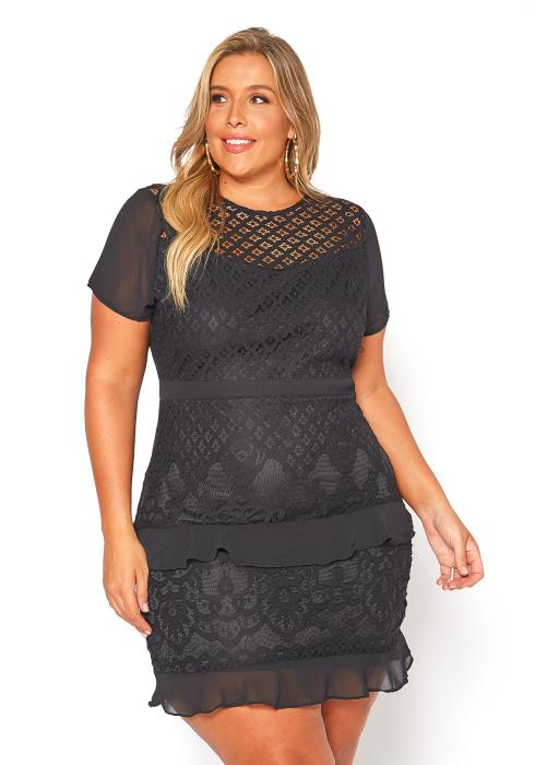 Asoph Plus Size Laced Ruffle Mini Black Dress