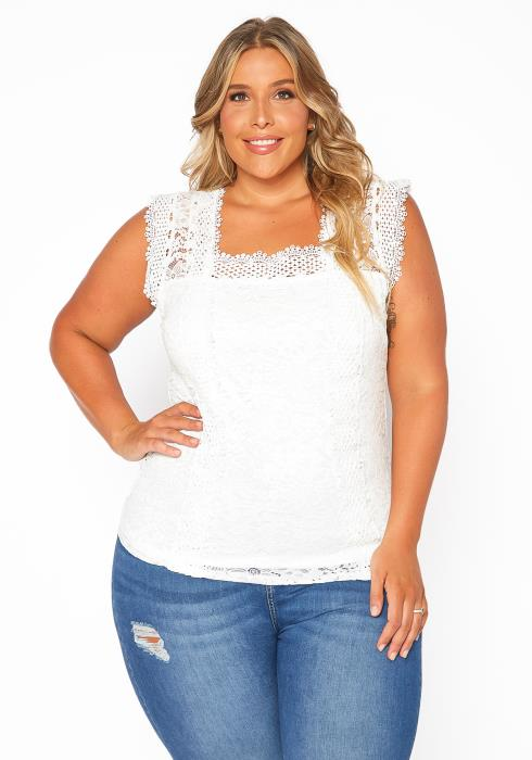 Asoph Plus Size Laced Sleeveless Blouse Top