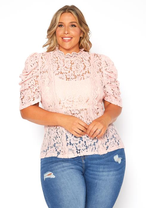 Asoph Plus Size Laced Puffy Sleeve Blouse Top