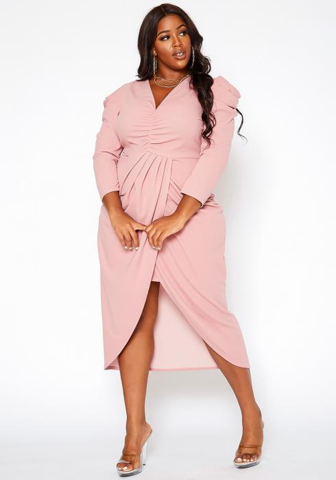 Asoph Plus Size Ruched Surplice Cocktail Dress