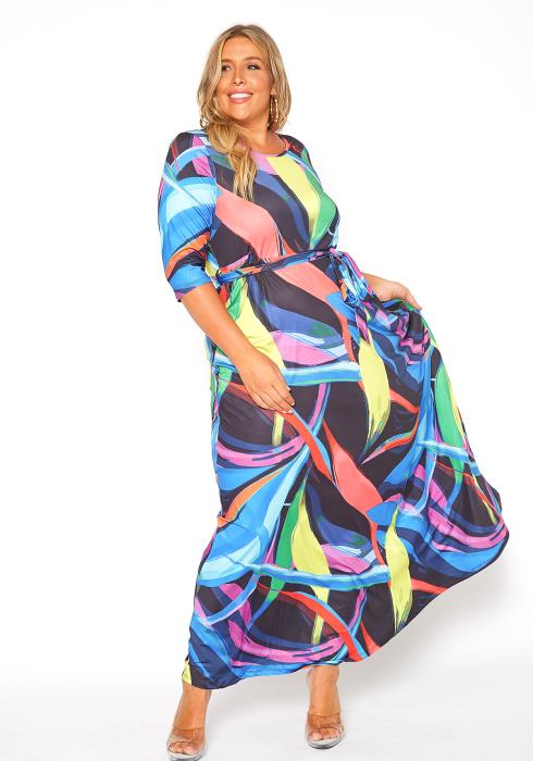 Asoph Plus Size Multi Color Stroke Maxi Dress