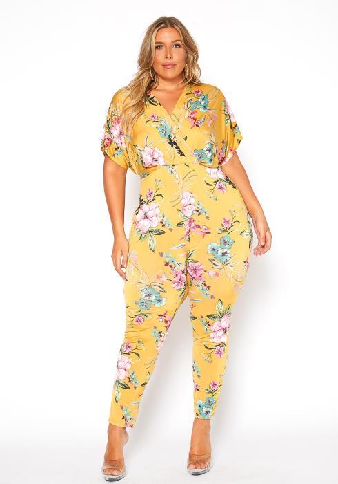 Asoph Plus Size Golden Floral Print Jumpsuit