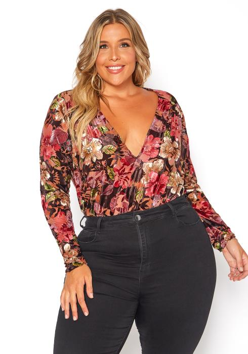 Asoph Plus Size Floral Velvet V-Neck Bodysuit