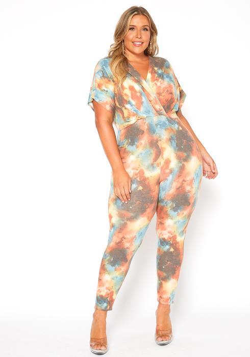 Asoph Plus Size Multi Print Dolman Sleeve Jumpsuit