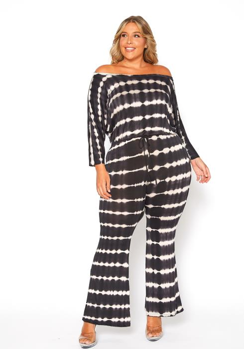Asoph Plus Size Tie Dye Off Shoulder Comfy Jumpsuit