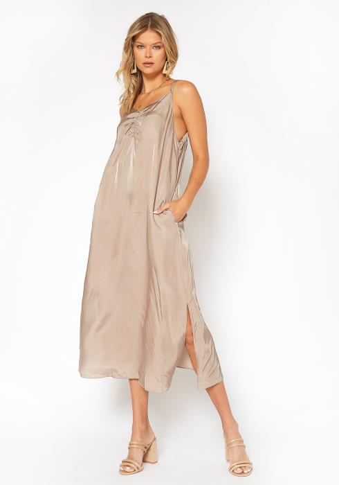 NDS Ruche Front Midi Slip Dress