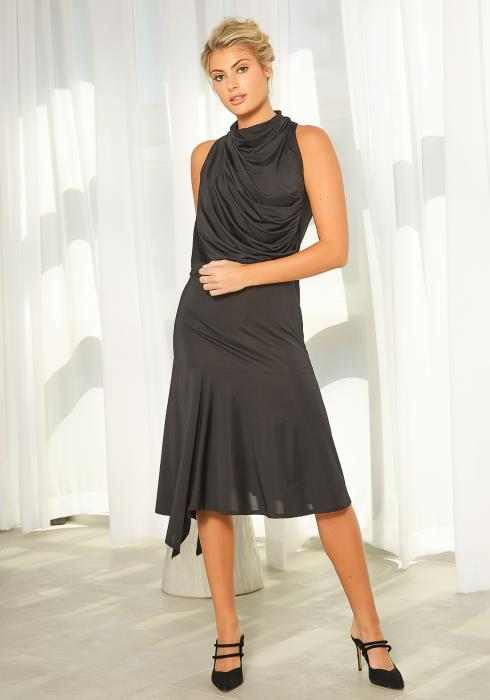 New Designers Space Drape Front Asymmetrical Dress